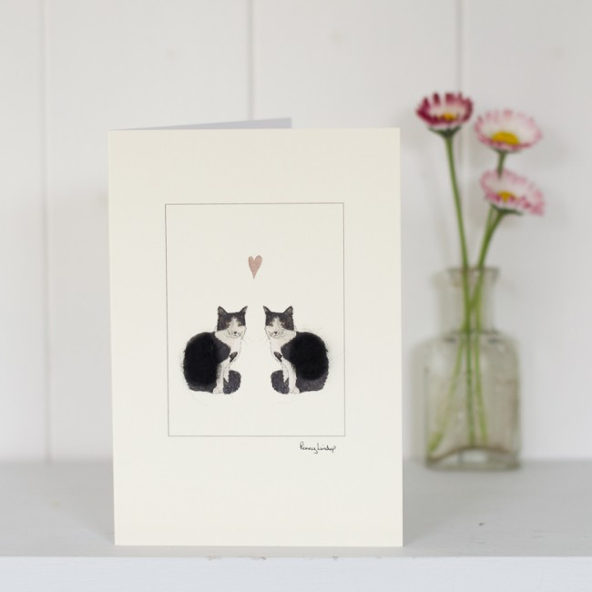 Cat Card - Black and White Cats with Heart