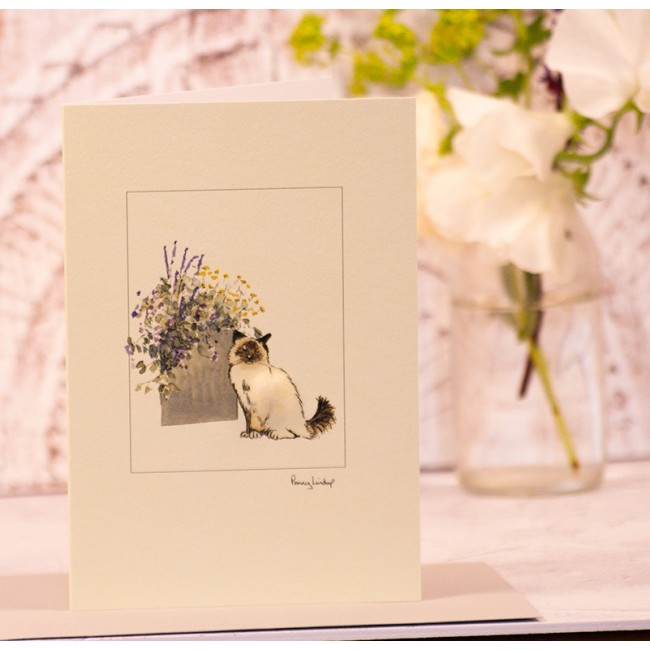 Birman Cat with pot of flowers greetings card