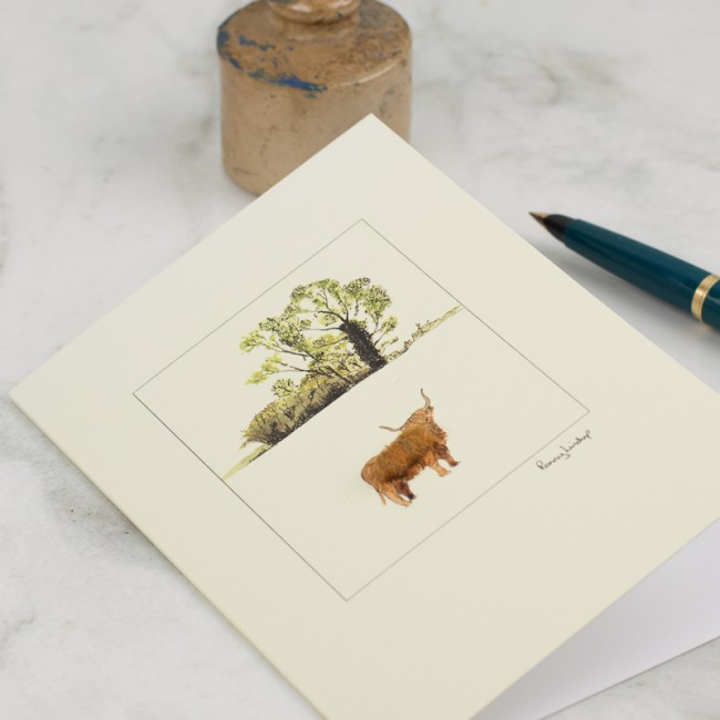 Cow Highland with oak tree card