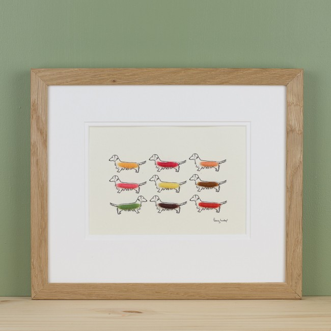 Dachshund print with 9 colourful sausage dogs
