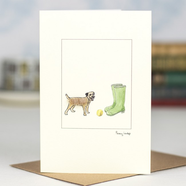Border Terrier and wellies card
