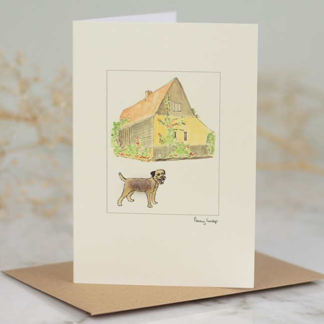 Border Terrier & Barn Card