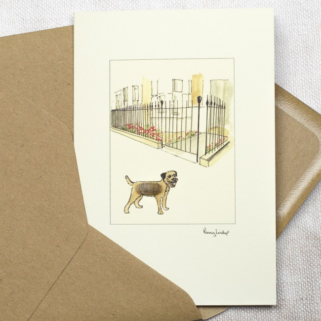 Border Terrier & House With Iron Railings Card
