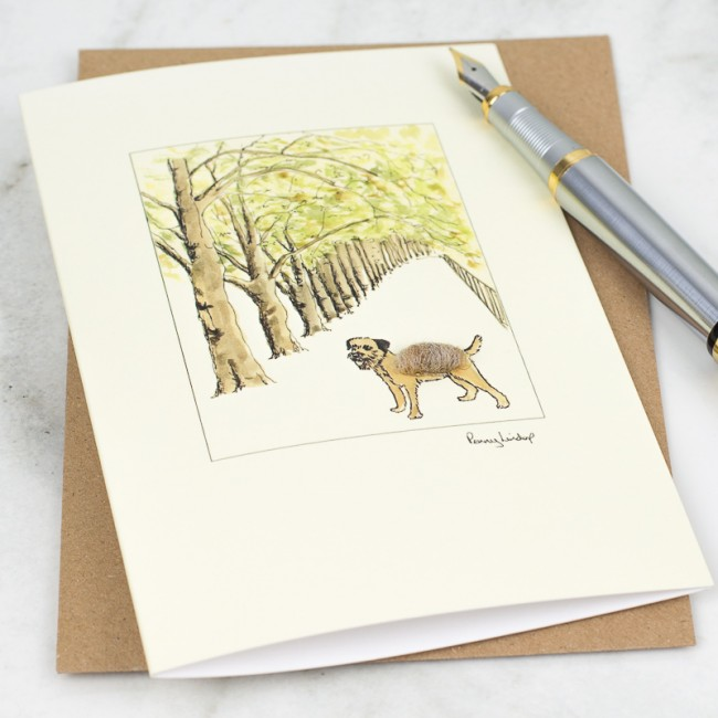 Border Terrier & Tree Lined Avenue Card