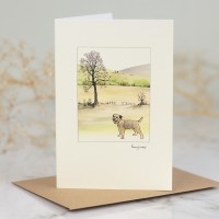 Border Terrier & Hillside Scene Card