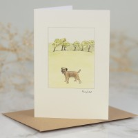 Border Terrier & Trees Card