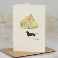Dachshund & Barn Card