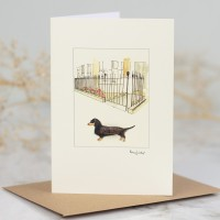 Dachshund & House With Iron Railings Card