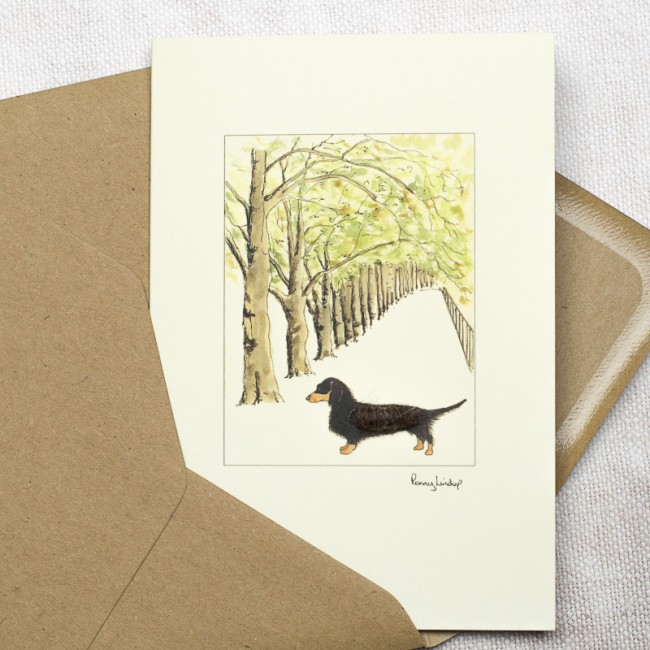 Dachshund & Tree Lined Avenue Card