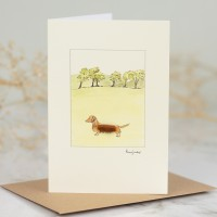 Dachshund & Trees Card