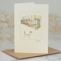 Jack Russell & House With Iron Railings Card