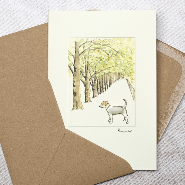 Jack Russell & Tree Lined Avenue Card