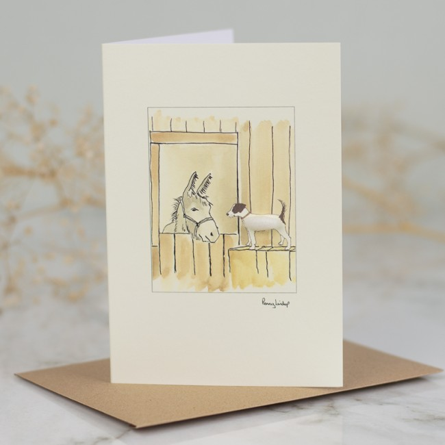 Jack Russell & Donkey In Stable Card