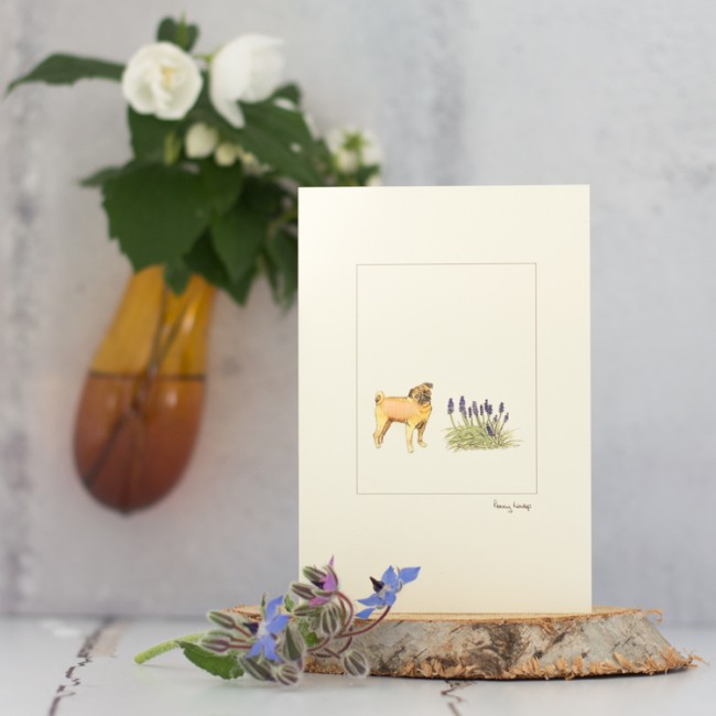 Pugs with flowers card