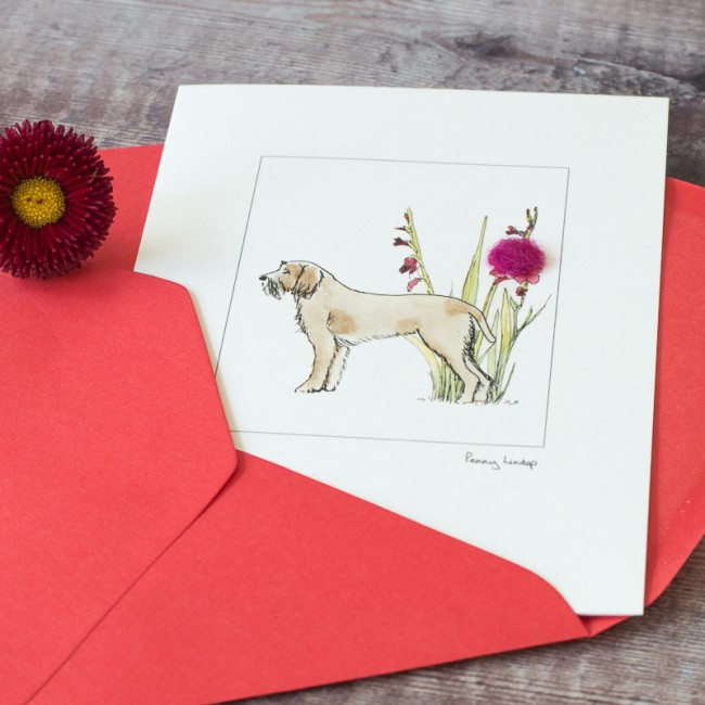 Italian Spinone & Flowers Card