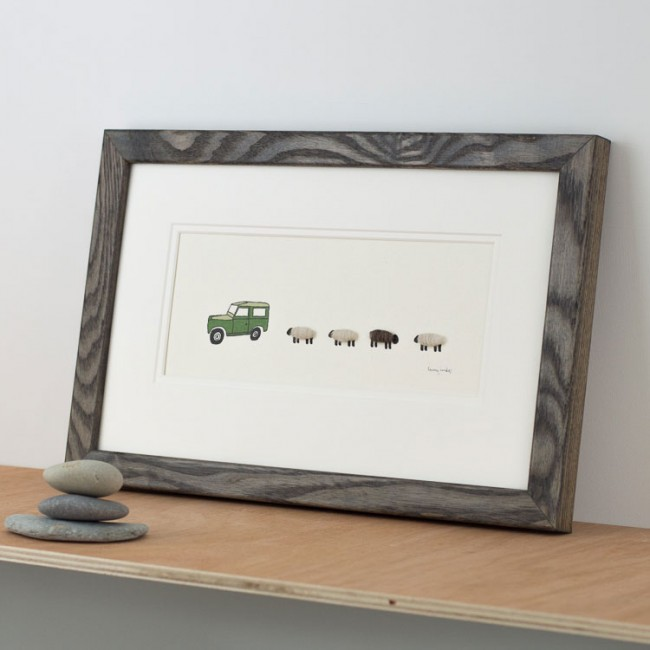 Land Rover and Woolly Sheep Print - Medium