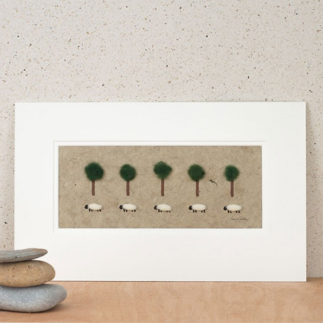 Sheep And Fluffy Trees Print