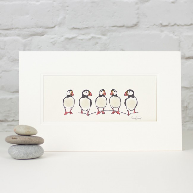 Puffins print - 5 in a row