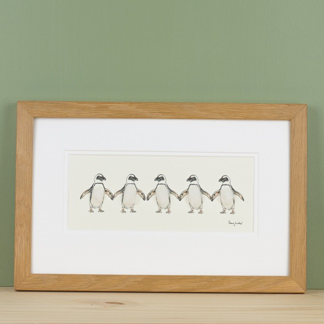 Penguins print - 5 Jackass penguins in a row