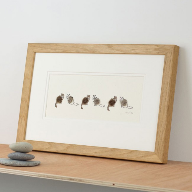 Cats Print - 6 Tabby Cats in a Row