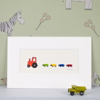 Nursery Tractor And Sheep Print With a Red Tractor and 4 Sheep