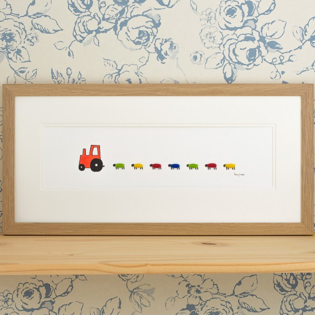 Nursery Tractor and Sheep Print - Red - Long