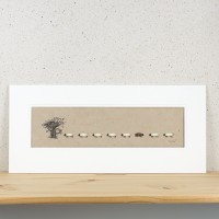 Long Oak Tree and Sheep Print