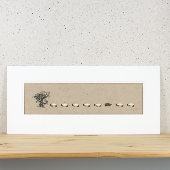 Oak Tree and Sheep Print