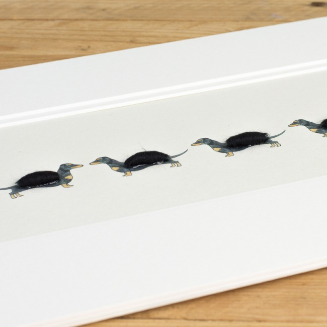 Dachshunds -  Long row of Dachshunds print