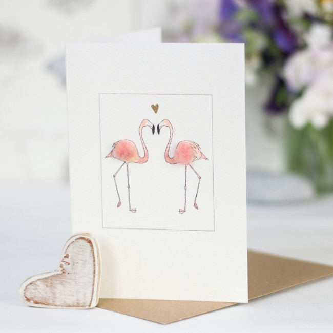 Flamingos and heart card
