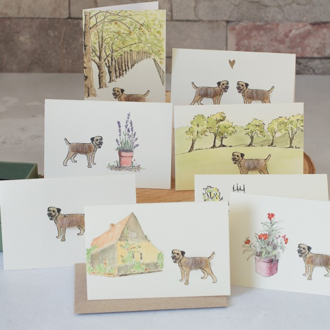 Boxed Collection of Border Terrier Gift Cards - 8 cards