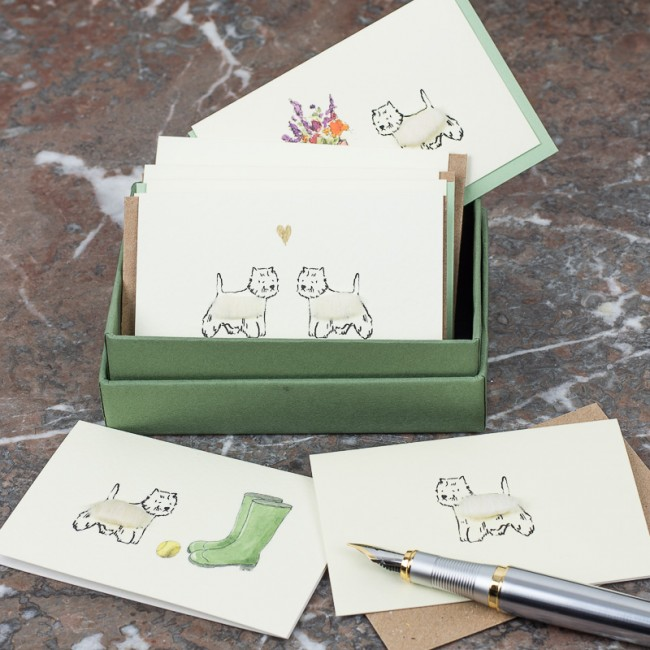 Boxed Collection of Westie Dog Gift Cards - 8 cards