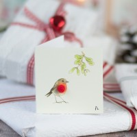 Christmas Gift Tags, Robin under the mistletoe, pack of 4