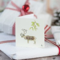 Christmas Gift Tags, Reindeer under mistletoe, pack of 4