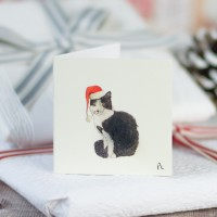Christmas Gift Tags, Black and white cat wearing santa's hat, pack of 4