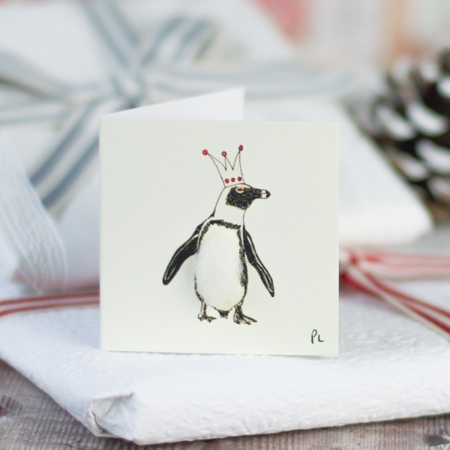Christmas Gift Tags, penguin in a crown, pack of 4