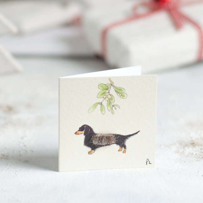 Christmas Gift Tags, fluffy dachshund, pack of 4