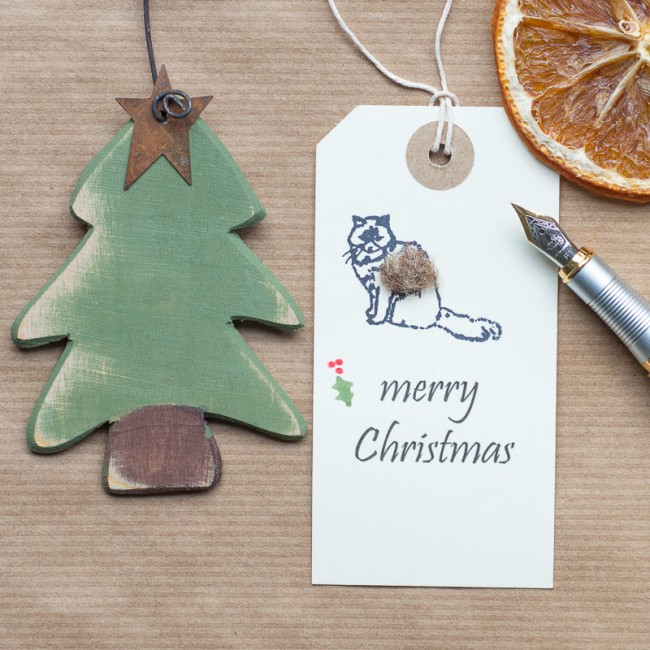 Christmas Gift Tags with a cat, pack of 6
