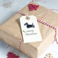 Christmas Gift Tags with Scottie dogs, pack of 6