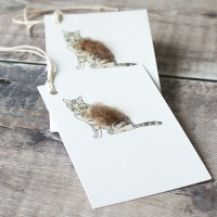 Gift Tags with a Fluffy Cat, pack of 6