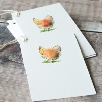 Pack of 6 Gift Tags with Hen, pack of 6