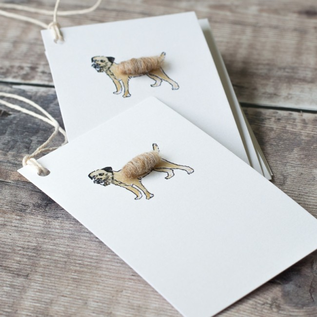 Gift Tags with border terrier dog, pack of 6