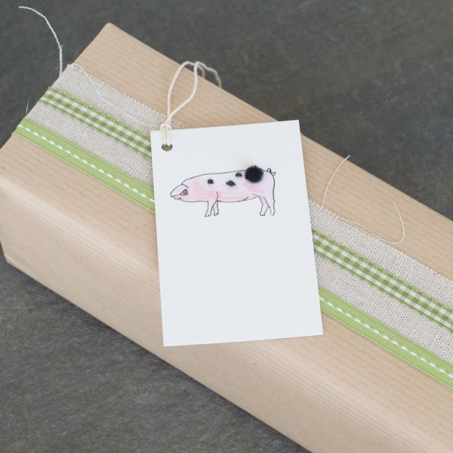 Gift Tags with a pig, pack of 6