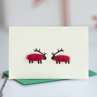 Sheep Deer Christmas Gift Cards, pack of 4
