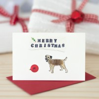 Border Terrier Christmas Gift Cards, pack of 4