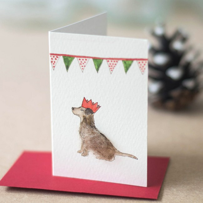 Party dog Christmas Gift Cards, pack of 4