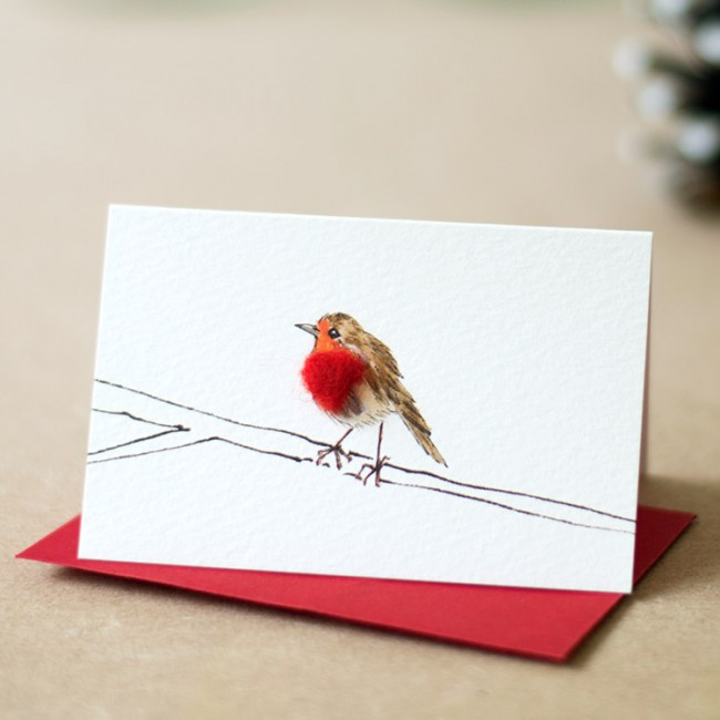 Robin on a Branch Christmas Gift Cards, Pack of 4