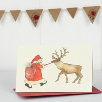 Santa and Rudolf Christmas Gift Cards - Pack of 4