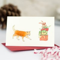 Cat and Presents Christmas Gift Cards, pack of 4