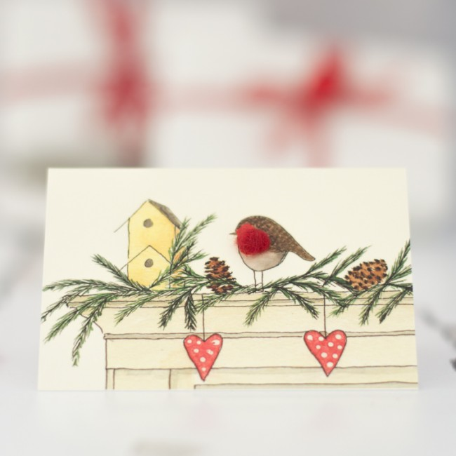 Robin on a Mantlepiece Christmas Gift Cards, Pack of 4